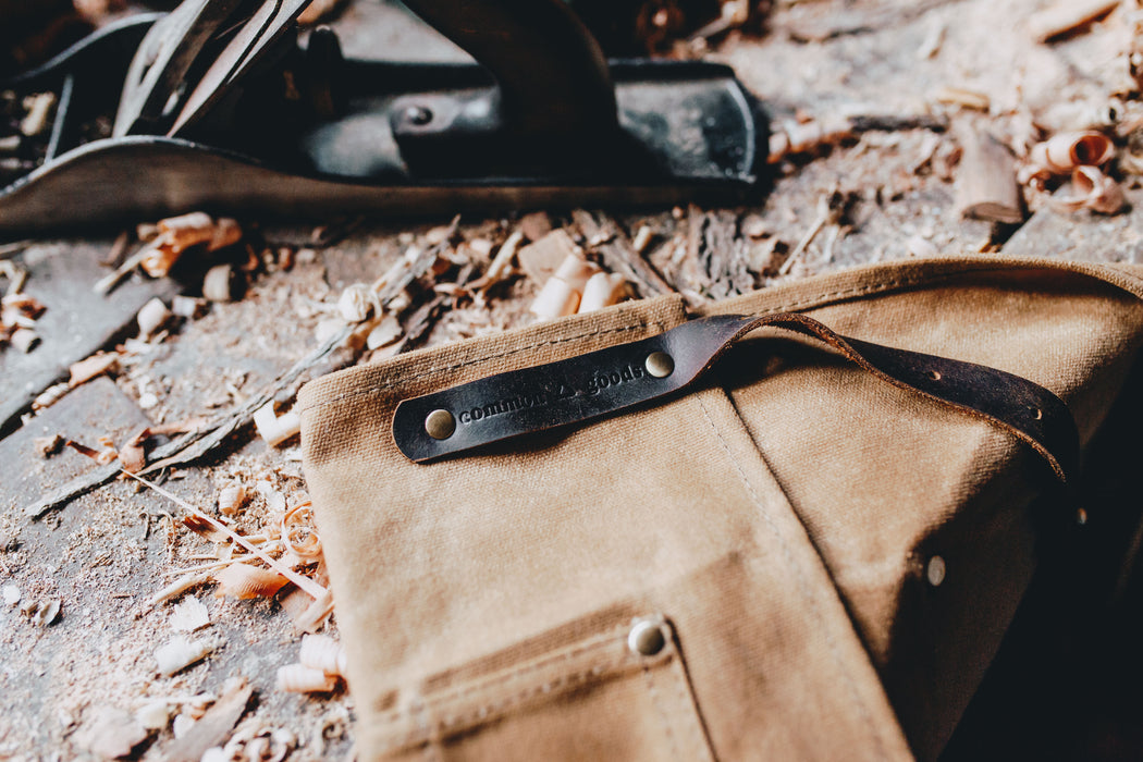 Waxed canvas waist apron