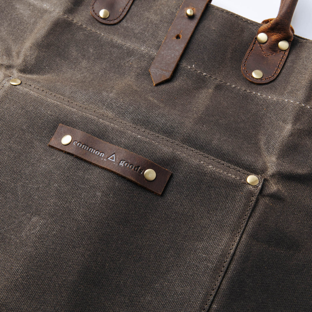 Common Goods Waxed Canvas Firewood Carrier - label