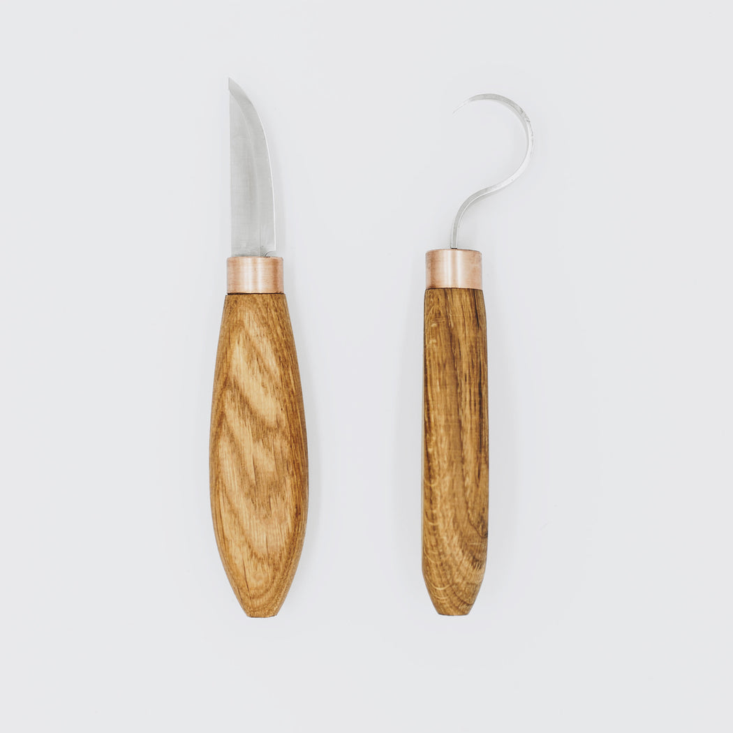 Oak spoon carving knives
