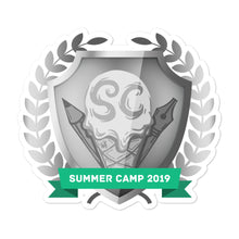 "Load image into Gallery viewer, Collectible Challenge Badge: ""Worldbuilding Summer Camp 2019 - Silver"""