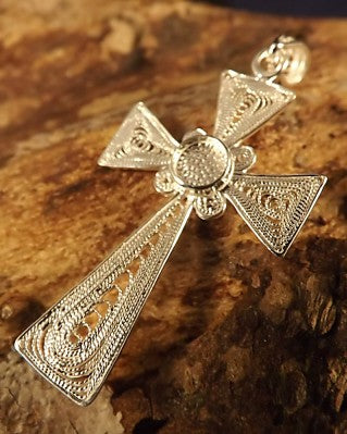 Silver Fillagree Cross Pendant To Set 5mm Cabochon