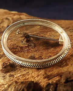 Rope Edge Unset Silver Brooch For Cabochon Also In Gold