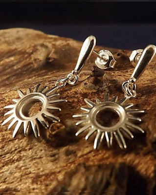 Silver Sun Drop Earrings For 6mm Cabochon