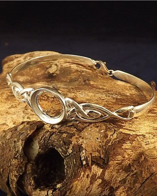 Silver Celtic Bangle Setting For 14mm Cabochon