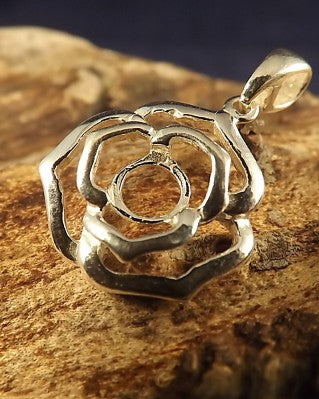 Silver Rose Style Pendant Mount for 6mm stone