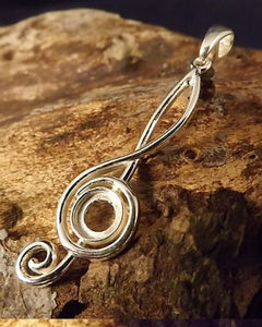 Silver Music Note Pendant To Take 6mm Stone