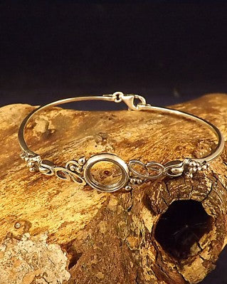 Solid Silver Bangle To Fit 10mm Cabochon