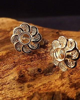 Silver filigree Earring Stud For 4mm Stone