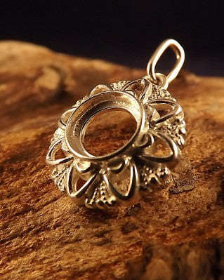 Silver Pendant Mount For 8mm Cabochon