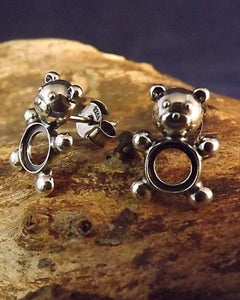 Silver Teddy Bear Stud Earrings To Fit 6mm Stone