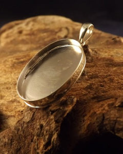 Silver Locket For Stone or Resin 22x15