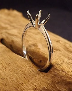 Silver Unset Ring For 8x6 Facetted Stone