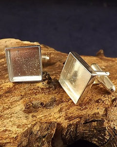 Square Cufflink Setting For 14.5mm Stone