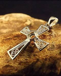 Silver Fillagree Cross Pendant 4mm Stones