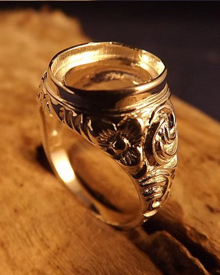 Mens Embossed Silver Signet Ring For 14x10 Stone