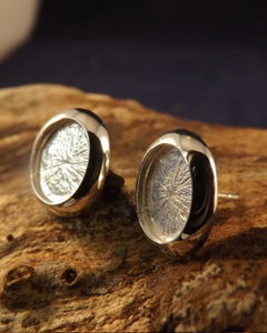Silver Cushion Edge Earring Studs For Mounting Stones