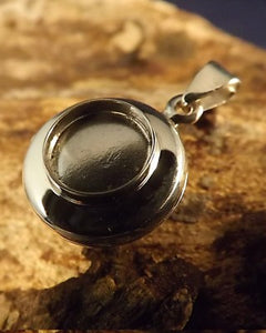 Silver Locket 9mm Round Stone