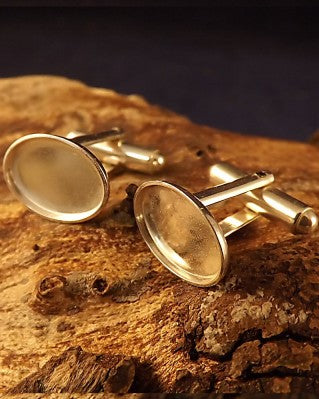 Silver Cufflinks Heavy Collet For Cabochons