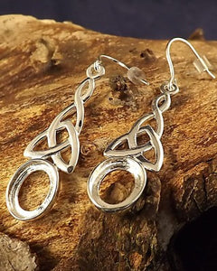 Silver Celtic Drop Earring Mounts For 10x8 Cabochon