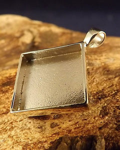 Silver Square Pendant Mount For 14.5 Stone
