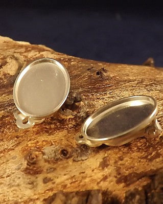 Plain Silver Clip On Earrings Ready to Set stones