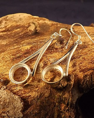 Silver Ear Drop Mount For 8mm Round Stone