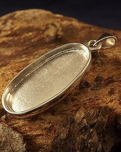 Silver Oval Pendant 28x14