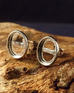 Plain Edge Silver Stud Earring For Cabochons.also In Gold