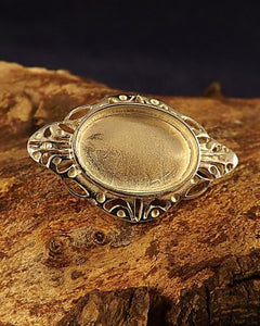 Silver Brooch Mounting To Fit 18x13 Cabochon