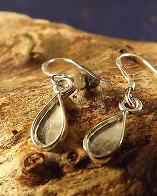 Small Silver Drop Earrings To Fit Pear Shaped Stone 8x4.5