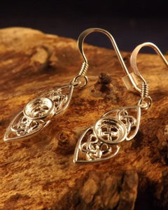Silver Celtic Drops Earrings For 5mm Stone