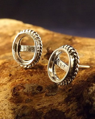 Silver Rope Edge Stud Earring Mount Settings 7x5 or 8x6
