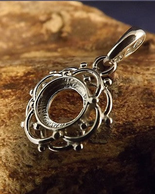 Unset Silver Pendant Mount For 8MM