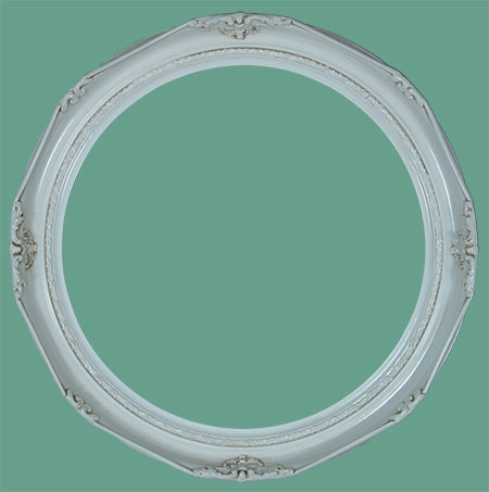 RD 14 Victorian Antique White Round Frame