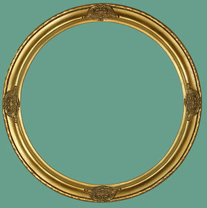 RD 17 Antique Gold with Ornaments Round Frame