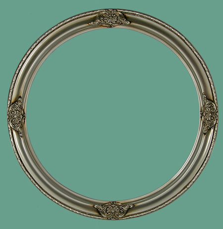 RD 17 Antique Silver with Ornaments Round Frame