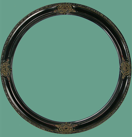 RD 17 Rosewood with Ornaments Round Frame