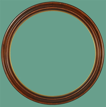 RD 8 Mahogany with Gold Lip Round Frame