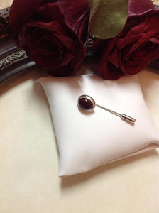 Silver Plain Edge Tie Pin For Setting 10x8 Gemstone