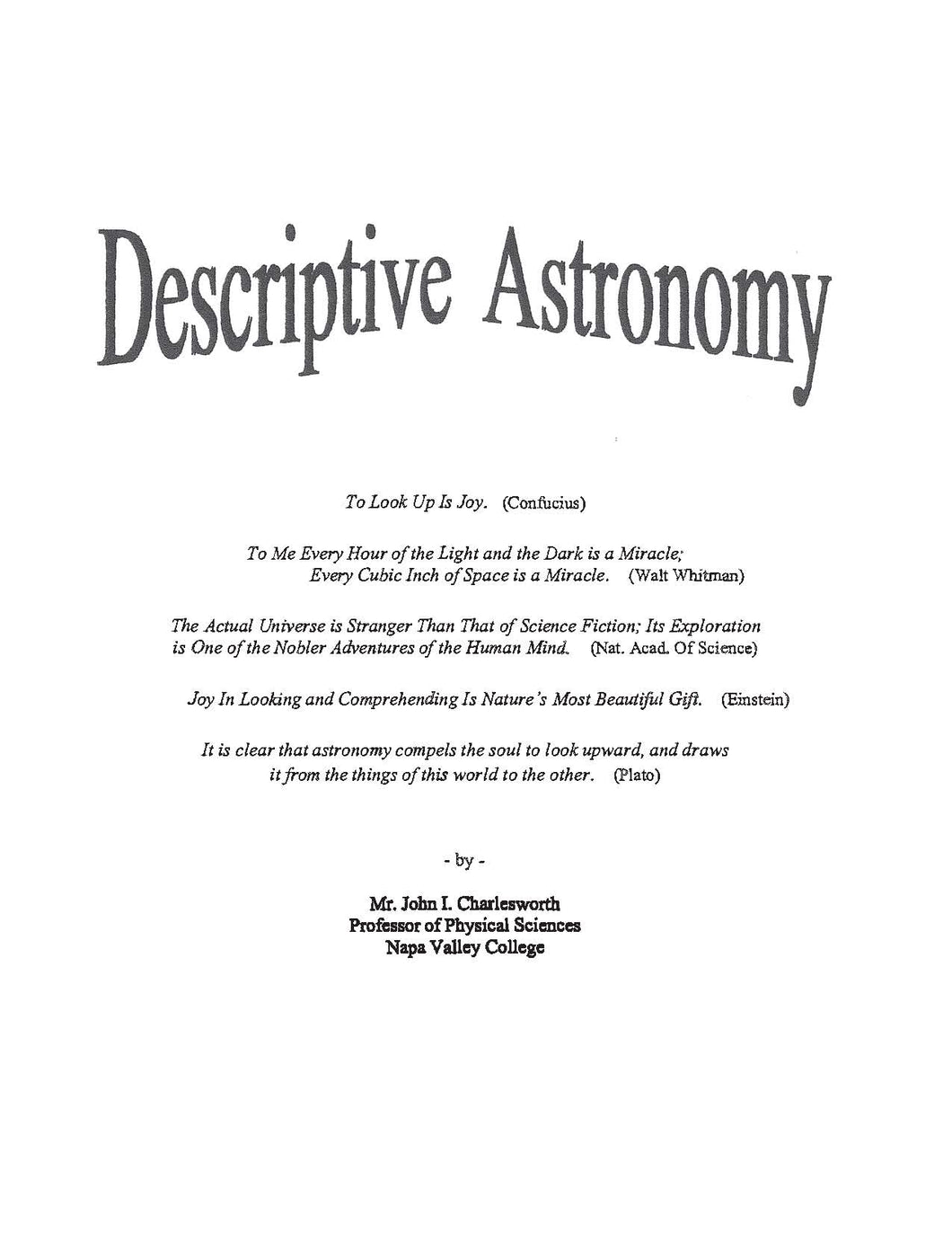John Charlesworth's Descriptive Astronomy