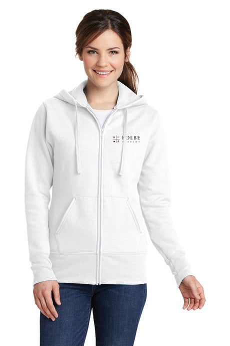 Ladies Full Zip Hoodie - White