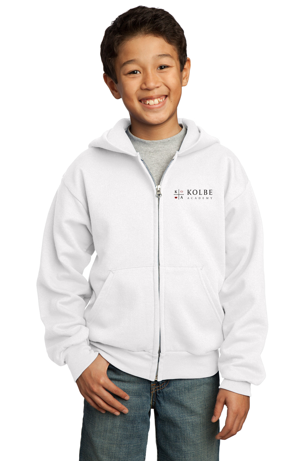 Youth Full Zip Hoodie - White