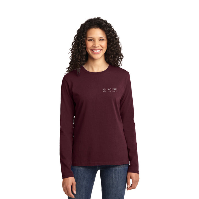 Ladies  Long Sleeve Tee- Athletic Maroon