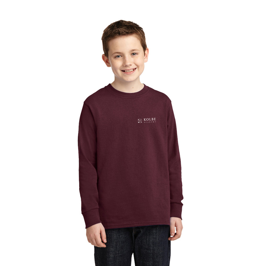 Youth Long Sleeve Tee - Athletic Maroon