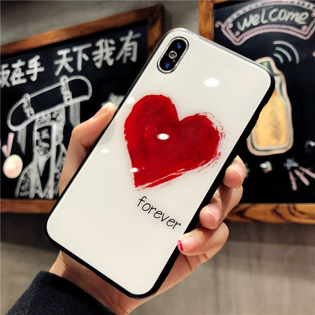 Heart Symbol Tempered Glass Case For Iphone Casesville