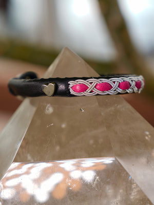 Leather Bracelets | Malibu | Ceeslove Bracelets | Black & Hot Pink XOXO