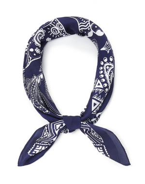 Navy Paisley Head Scarf