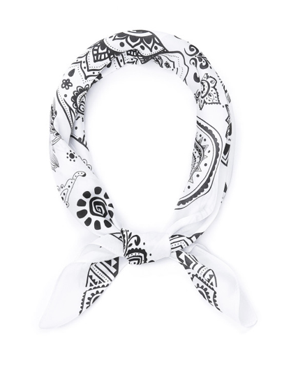 White Paisley Head Scarf