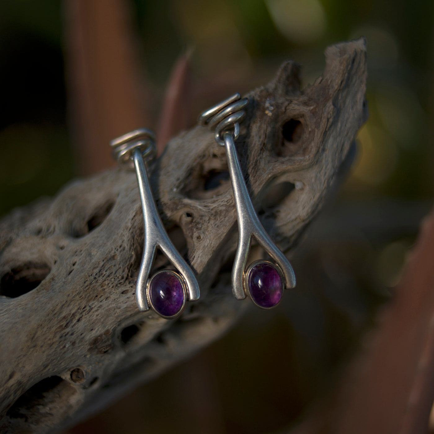 Vintage Sterling Silver & Amethyst Earrings from Taxco