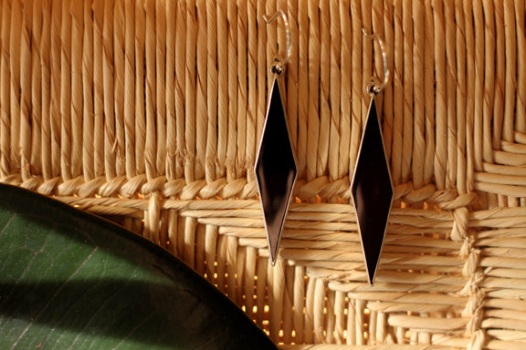 Silver Earrings from Taxco - Black Diamond